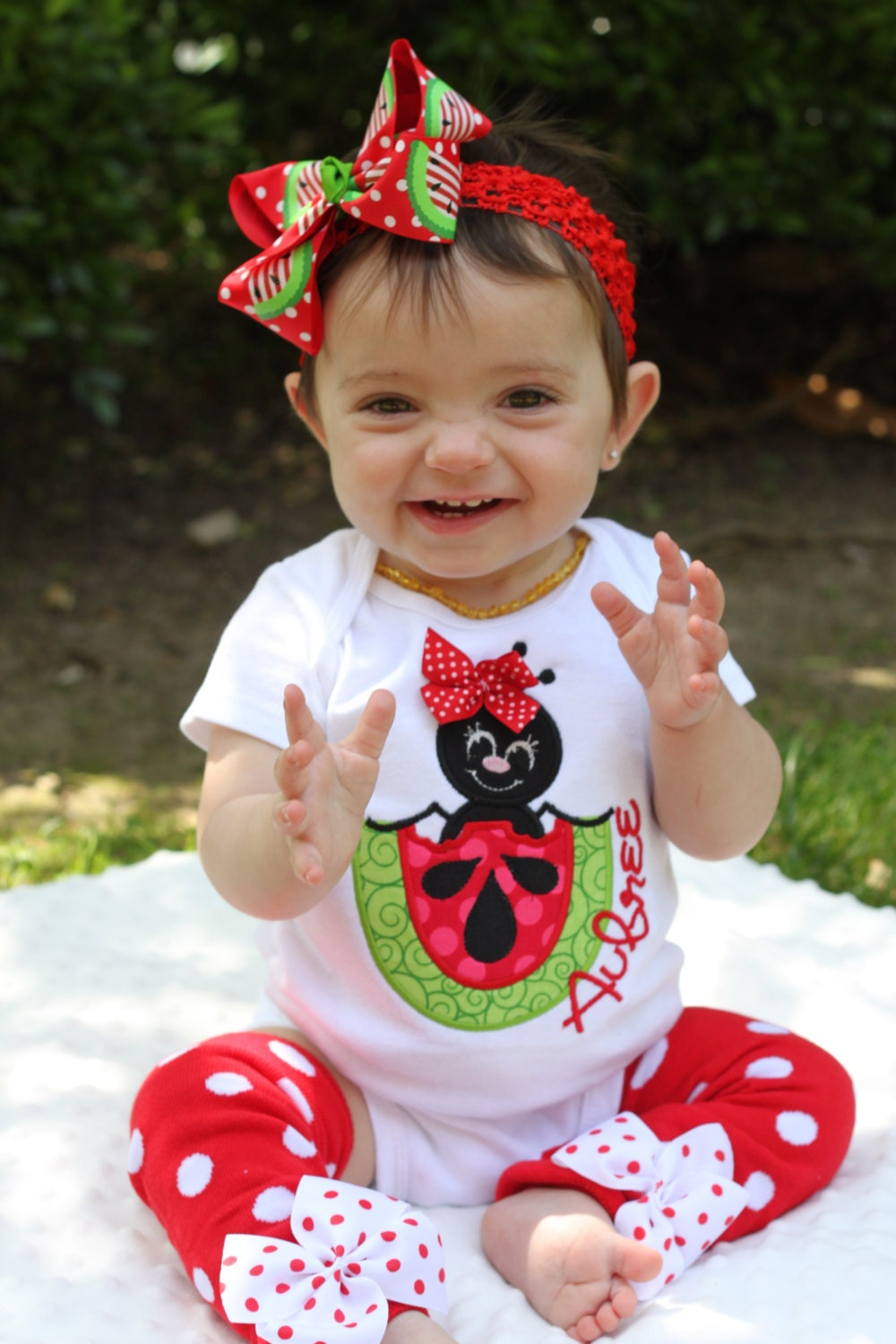 Watermelon outfit for baby girls Summertime Picnic