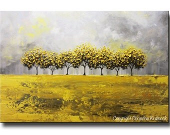 ORIGINAL Art Abstract Painting Yellow Grey Trees LARGE Art Textured Wall Art Home Decor Coastal Gold White Horizon 24x36- Christine Krainock