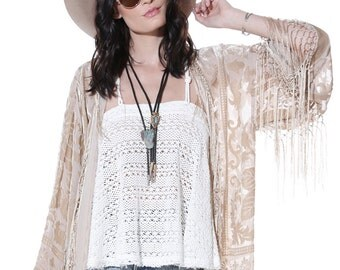 Gypsy Dreaming Floral Brocade Velvet Burnout Fringe Kimono - Beige