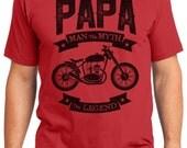 Papa The Legend Vintage Motorcycle Men's T-shirt Short Sleeve 100% Cotton S-2XL Great Gift (T-DA-25)