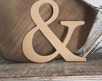 wooden letters, wall letter, not free-standing, unpainted, Roman font, letter &, ampersand,  20cm - READY TO SHIP