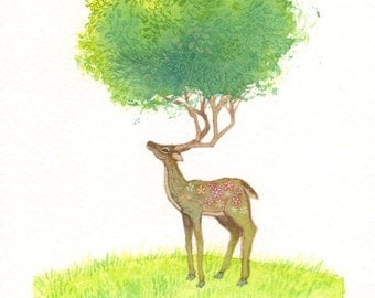 "Watercolor Painting - Original Deer Art - Woodland Wall Art - Woodland Nursery Decor - 5"" x 7"""