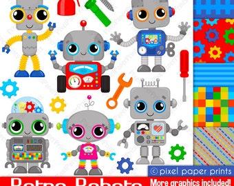 Robot clipart - RETRO ROBOTS - Clip art and Digital Paper Set - Robot clipart