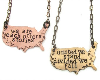 america, usa, american flag, flag necklace, election 2016, united we stand, jewelry, equality, copper, brass, fall, hand stamped