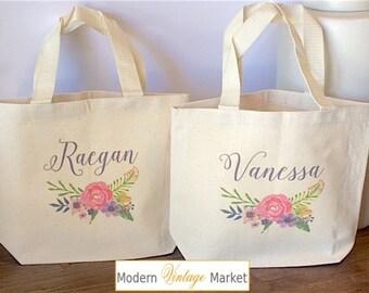 Tote Bag-Flower Girl bags-Tote Bags-Gift Bag-Wedding Bags-Bridesmaids Bags-Monogrammed Tote Bags-Custom Tote Bag-Modern Vintage Market