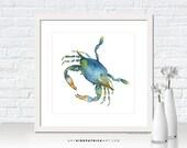 Blue CRAB Painting, Blue Sea Series, Crab Print, Crab Greeting Cards, Crab Original Watercolor Painting, Beach Wall Decor, Blue Crab