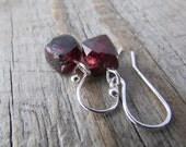 Garnet Earrings, small, simple, faceted garnet cubes, dangle earrings