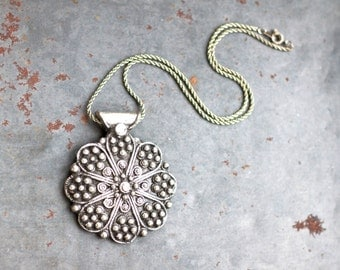 Dark Silver Rose Necklace - Large Pewter Pendant on Short Chain