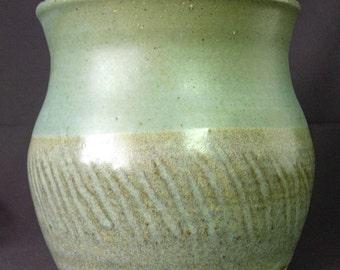 BLALOCK Signed Pottery Bowl Planter Vase - Blues Grays Browns