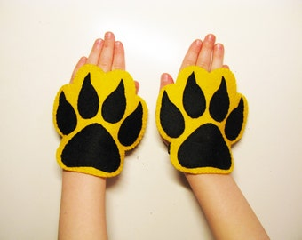 Tiger felt paws cuffs 2 pcs Yellow Black handmade animal costume accessory for kids adults Dress up play Photo booth props Theatre roleplay