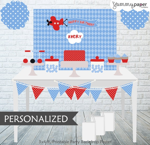Printable Airplane Backdrop - 3x4 ft. Personalized Printable Party ...