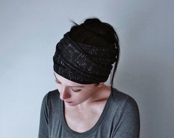 HEATHER BLACK Yoga Headband - Black and White Jersey Head Scarf - Extra Wide Boho Hair Wrap - Bohemian Head Wrap - Womens Hair Accessories