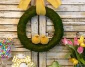 Chick Wreath - Easter Wreath - Chickadee Decoration - Moss Wreath