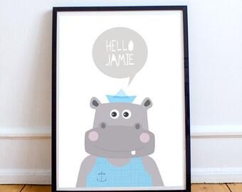 Personalized print with hippopotamus, baby animal prints, baby nursery decor, baby room decor, blue, kids room decor, personalised kids