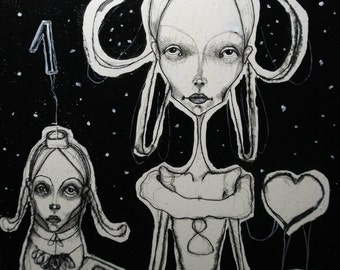 Illustration , drawing, figurative, white,black, girl, night, dream, toy