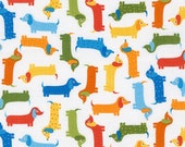 LAMINATED cotton fabric (aka oilcloth coated wipeable fabric) by the yard - Mini Dachshund Hound Doxie dogs Urban WIDE BPA free - Kid safe