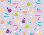 LAMINATED cotton fabric by the yard - Princess Dress on purple Dream Wish EXCLUSIVE (aka oilcloth, coated fabric, tablecloth fabric)