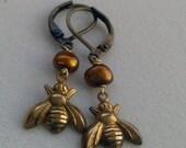 Sweet Honey Bee and Amber Pearl Lever Back Earrings - Bumble Bee Brass Earrings - Golden Freshwater Pearl Earrings