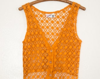 pointed net vest - S