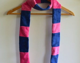 Plush Scarf - Navy and Fuchsia - One of a Kind - OOAK