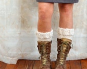 Bulky Hand Knit Ivory Boot Toppers Ribbed Boot Cuffs - Knitted Accessory