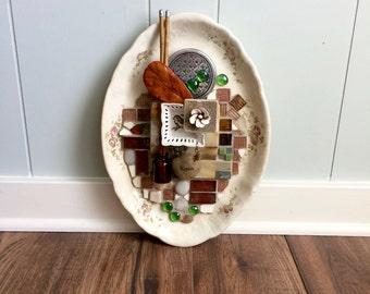 Kisses in the Garden, Vintage Platter, Assembled Art, Assemblage Art, Mosaic Art, Original Art