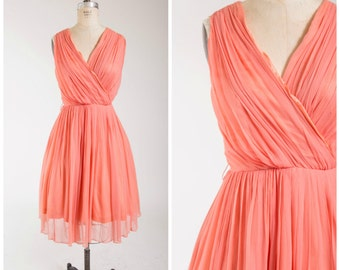 Vintage 1960s Dress • Enamored with You • Salmon Pink Chiffon 60s Vintage Party Dress by Lilli Diamond Size Large