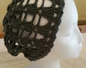 Gray Crocheted Lace Hat