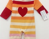 Baby Romper, Red Heart striped cotton baby one piece, up-cycled, down-sized cotton romper, toddler and, baby clothes, cotton stripes, Cute