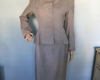 1940s Women's Gray Wool Women's Suit