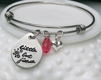 Little but Fierce Bracelet - Expandable Bangle Bracelet - Inspirational Bracelet - Shakespearean Quote Bracelet - Stacking Bracelet - Bangle