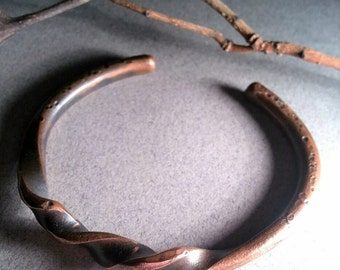 Twisted Copper Cuff Bracelet forged