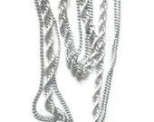 Vintage Monet Multistrand Silver Chains Necklace 1960s
