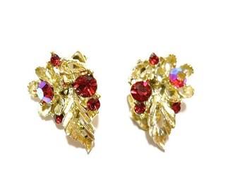 Vintage Lisner Earrings Red Rhinestone 1950s