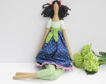 Fabric doll handmade stuffed doll green polka dot blue brunette cloth doll rag doll cute doll gift for girls