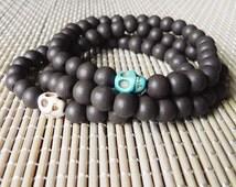 Mens Skull Bracelet, Mens Wooden Bracelet, Turquoise Brown Bracelet, Beaded Bracelet, Mens Jewelry, Mens Brown Bracelet, Wood Bracelet