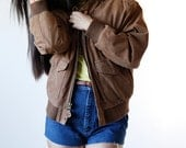 Vintage 90s Brown Suede Leather Bomber Jacket Size Medium