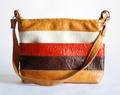 Vintage 70s brown and orange striped Bag tote Briefcase