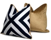 "18"" B&W X Pattern Pillow with Gold Velour Backing"