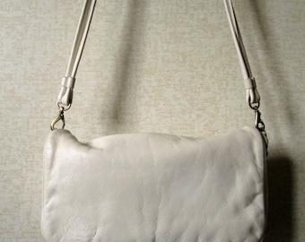 Crossbody Bag or Clutch Purse Vintage 80s 90s Stone Mountain shoulder bag ivory cream bone white leather long strap handbag