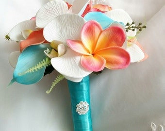 Wedding Coral Orange and Aqua Turquoise Teal Natural Touch Orchids, Callas and Plumerias Silk Flower Wedding Bouquet