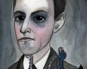 H.P. Lovecraft Literary Art Print, Writers Portrait, (6x8) Victorian Goth Home Decor, Cthulhu Illustration