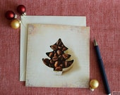 Christmas Tree card, coffe tree, for coffee lovers, scent of Christmas, coffee notecard, brown and beige, season greetings