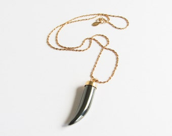 Hematite Carved Horn Vintage Necklace on Gold Tone Chain