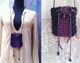 ilumina 2 * Original/ matte purple blue and dark magenta ultra suede lace crochet POUCH// shark teeth/ lapis chips/ glass beads/ hippie chic