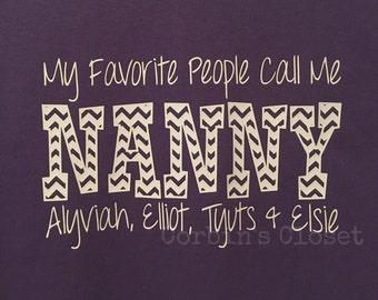 Custom NANNY Shirt with Grandkids Names * You Pick Name