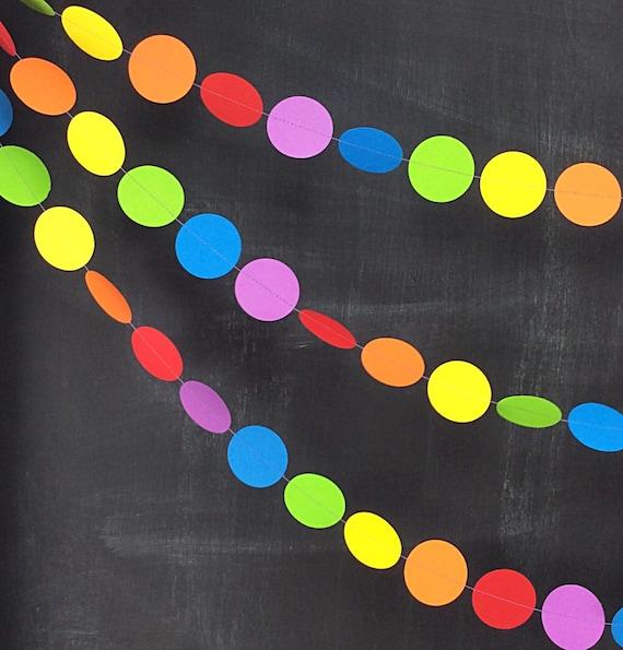 Rainbows Dots 10ft Garland: Rainbow Birthday Party, 1st Birthday Girl, Photo Backdrop, Noah's Ark Party, Circus Party Decor, Carnival Decor