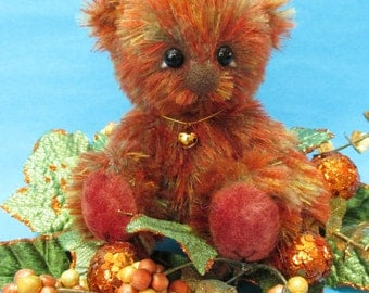 OOAK autumn leaves color mohair artist bear, Syrup by YuYu Bear