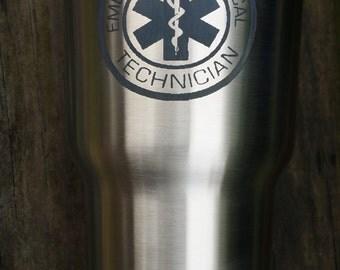 EMT Logo, Laser Engraved, 30 oz RTIC Tumbler Stainless Steel