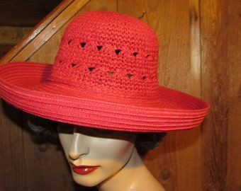 80's Red Straw Hat - Bucket Hat with Rolled Brim